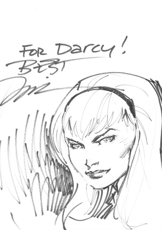 Gwen Stacy sketch that Jim Lee did for Australian fan Darcy Quinn