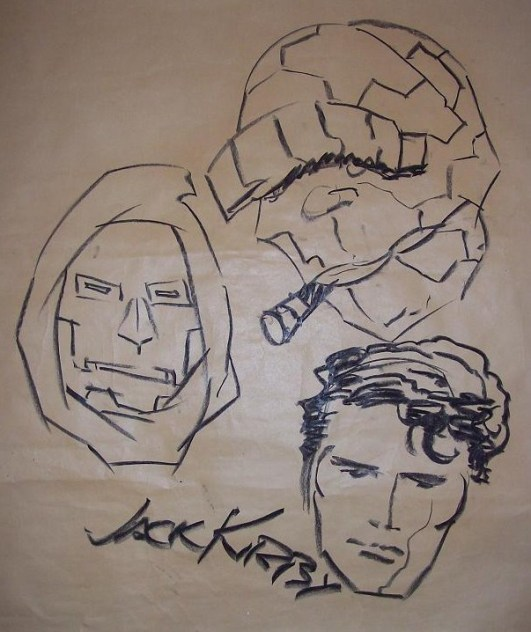Jack Kirby sketch of Dr. Doom, the Thing, and Reed Richards from 1970 San Diego Comic-Con #1