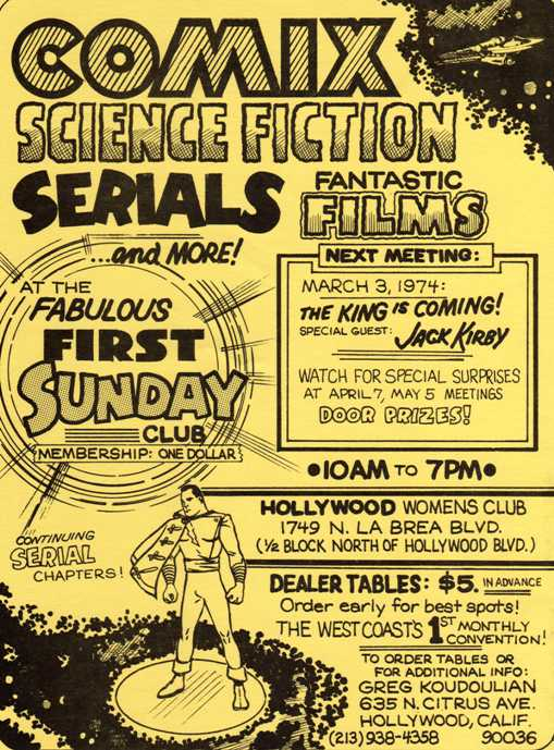 Flyer for Greg Koudoulian's and John Ziniewicz's March 1974 Fabulous First Sunday Club Mini-Con