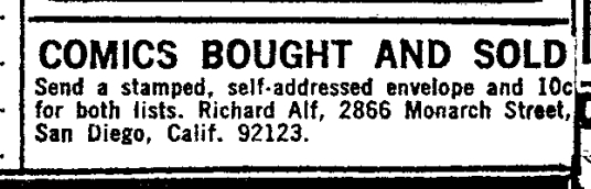Richard Alf's First, 1969 Ad in Marvel Comics