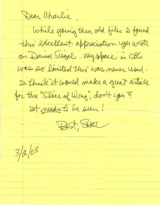 Shel Dorf's letter to Charlie Roberts regarding his David Siegel letter