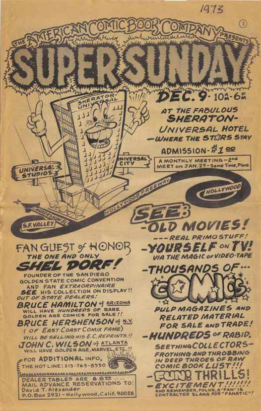 Flyer for Terry Stroud and David Alexander's December 1973 Super Sunday Mini-Con