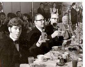 A be-fanged Alan White with Forry Ackerman, Walt Daugherty, and Karl Freund at a 1966 Count Dracula Society luncheon. (Photo by L.A. Times staff Photographer)