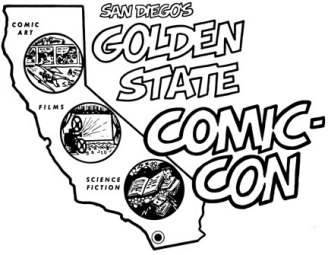 San Diego's Golden State Comic-Con Original 1970 Logo: Design by Shel Dorf; Lettering by Scott Shaw!