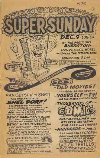 Flyer for Terry Stroud and David Alexander's December 1973 Super Sunday Minicon